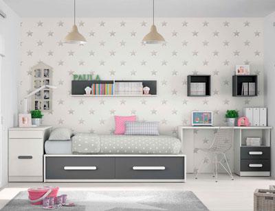Composicion 303 dormitorio juvenil blanco grafito