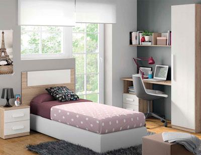 Composicion 304 dormitorio juvenil cambrian nieve