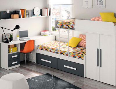 Composicion 306 dormitorio juvenil blanco grafito