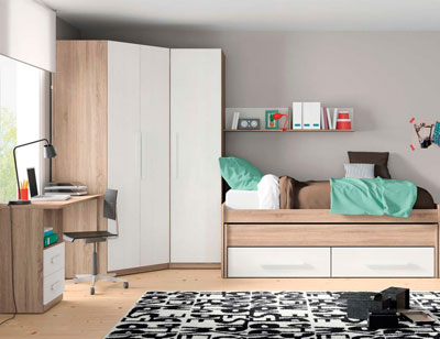 Composicion 308 dormitorio juvenil cambrian blanco1