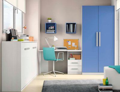 Composicion 312 dormitorio juvenil blanco marino