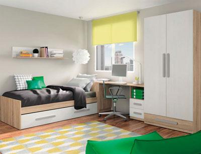 Composicion 313 dormitorio juvenil cambrian blanco