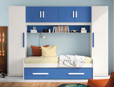 Composicion 315 dormitorio juvenil blanco azul marino