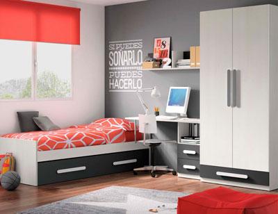 Composicion 317 dormitorio juvenil blanco grafito