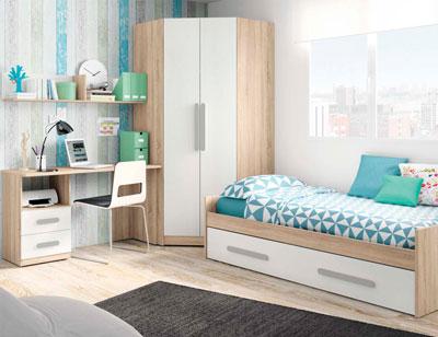 Composicion 318 dormitorio juvenil cambrian blanco