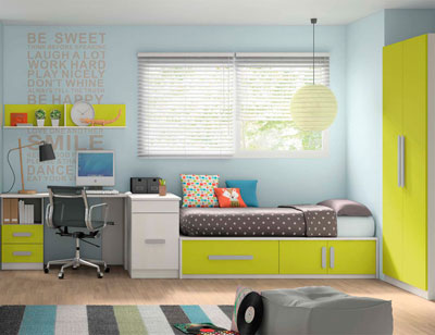 Composicion 319 dormitorio juvenil blanco kiwi