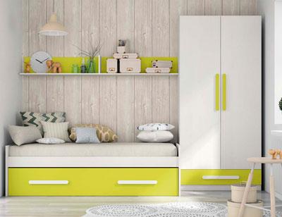Composicion 321 dormitorio juvenil blanco kiwi