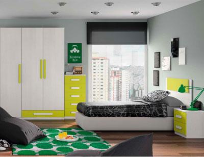 Composicion 324 dormitorio juvenil blanco kiwi