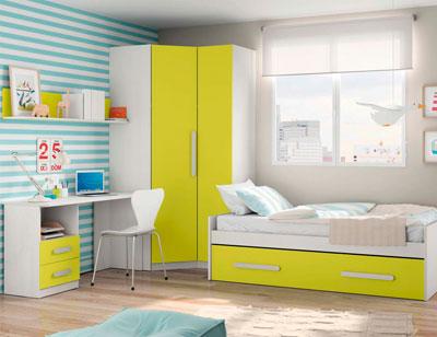 Composicion 329 dormitorio juvenil blanco kiwi