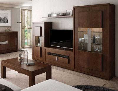 Composicion 6 mueble salon comedor neoclasico vitrina bodeguero nogal classic