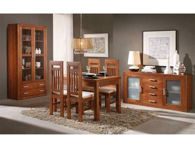 Composicion muebles vitrina aparador mesa sillas nogal claro