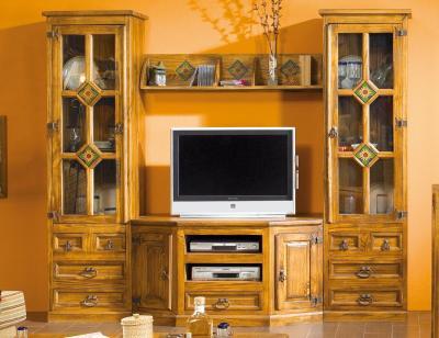 Composicion11 mueble salon comedor girasol 2 bodegueros madera pino
