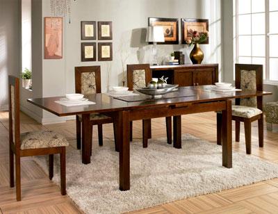 Composicion33 mesa salon comedor sillas tapizadas madera1
