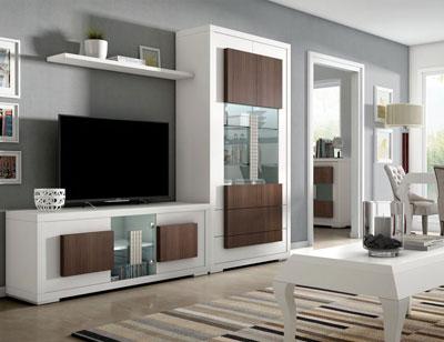 Composicion4 mueble salon comedor neoclasico blanco nogal classic