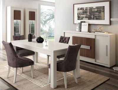 Composicion5 muebles salon comedor vitrinas mesa sillas aparador blanco nogal classic
