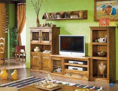 Composicion7 mueble salon comedor vitrina madera maciza