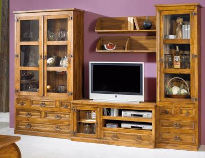 Composicion7 mueble salon comedor vitrinas madera maciza