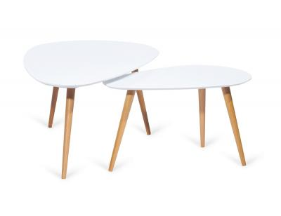 Conjunto 2 mesas centro en mdf blanco set cuore