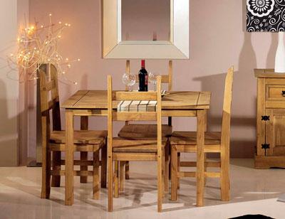 Conjunto mesa madera rustico 110 cm 4 sillas