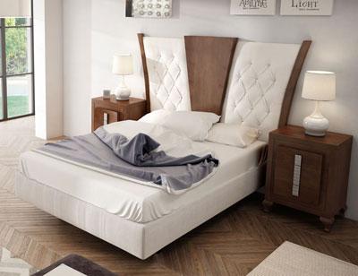 Dorm02 dormitorio matrimonio neoclasico nogal classic cubos caramelo cabecero tapizado