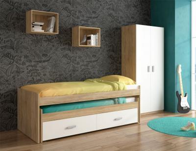 Dormitorio juvenil armario cama compacto cajonera cambrian blanco