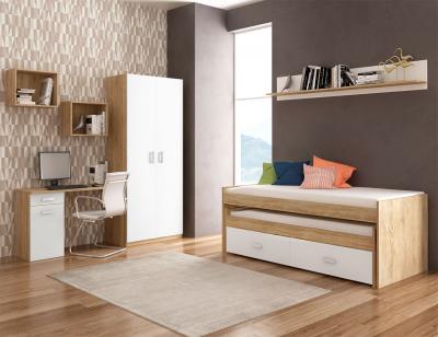 Dormitorio juvenil armario cama compacto cajonera escritorio cambrian blanco