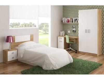 Dormitorio juvenil armario escritorio cabecero mesita noche estante cambrian blanco