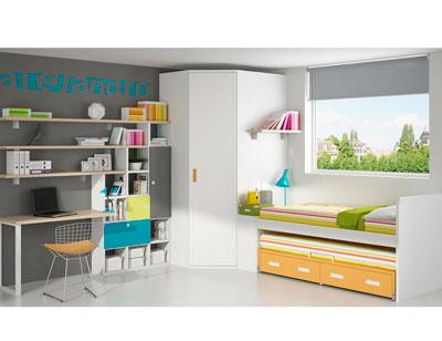 Dormitorio juvenil armario rincon cama compacto nido