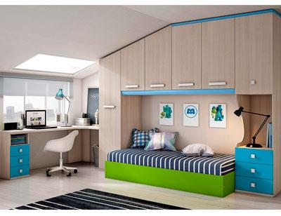 Dormitorio juvenil armario vestidor rincon cama puente estudio luz