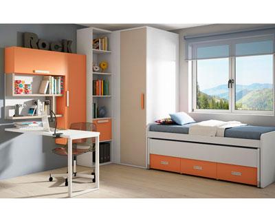 Dormitorio juvenil armario vestidor rincon cama puente naranja