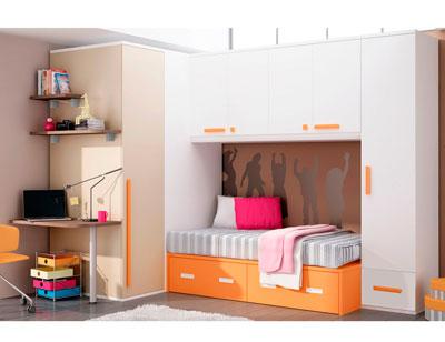 Dormitorio juvenil armario vestidor rincon cama puente