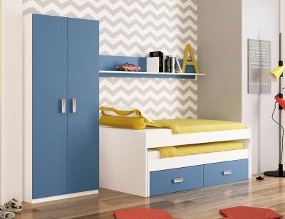 Dormitorio juvenil blanco azul 1