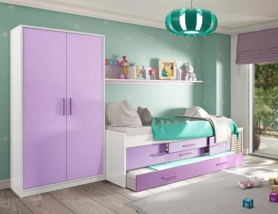 Dormitorio juvenil blanco lila