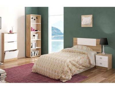 Dormitorio juvenil cabecero mesita noche estanteria zapatero cambrian blanco1