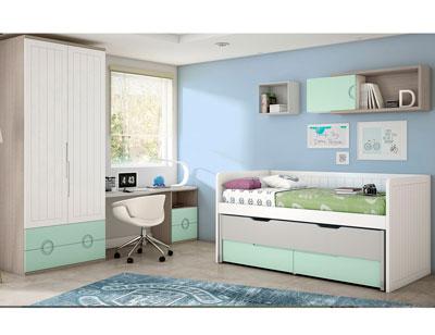 Dormitorio juvenil cama litera armario rincon con escritorio ih105