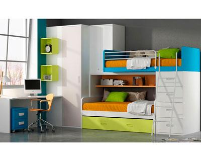 Dormitorio juvenil cama litera armario rincon con escritorio