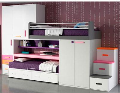 Dormitorio juvenil cama litera tren armario