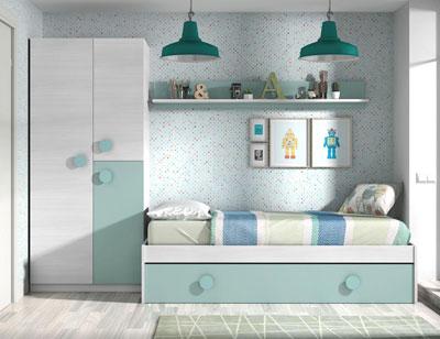 Dormitorio juvenil cama nido armario 1