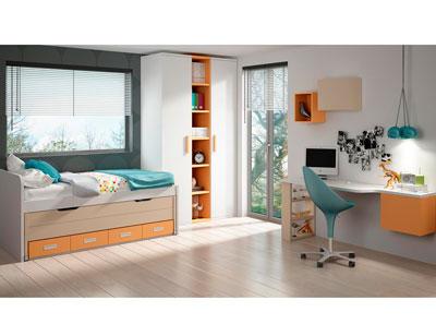 Dormitorio juvenil cama nido armario cajones estantes