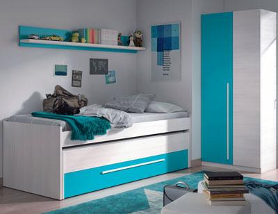 Dormitorio juvenil cama nido armario cyan