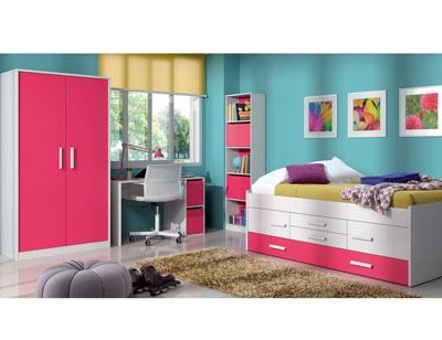 Dormitorio juvenil cama nido armario rojo