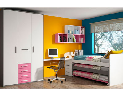 Dormitorio juvenil cama nido con tres camas