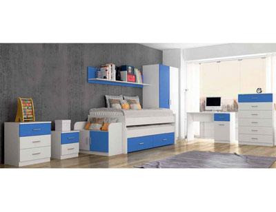 Dormitorio juvenil comodin mesita noche banqueta estanteria cama compacto nido mesa estudio sinfonier armario2