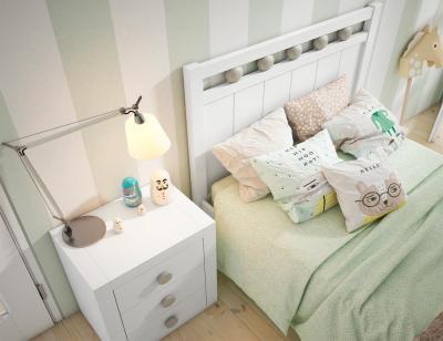 Dormitorio juvenil en madera blanco con circulos