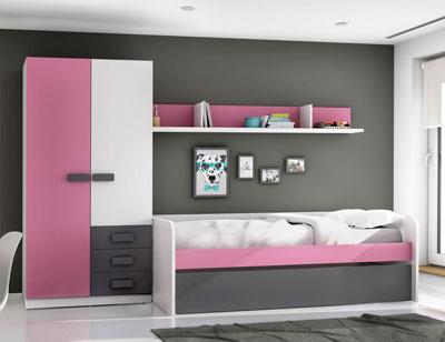 Dormitorio juvenil grafito rosa 2