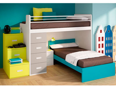 Dormitorio juvenil litera barandilla escalera