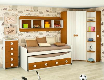 Dormitorio juvenil madera cama nido armario 131
