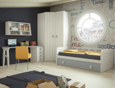 Dormitorio juvenil madera cama nido armario 132
