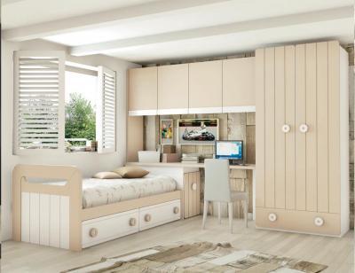 Dormitorio juvenil madera cama nido armario 133