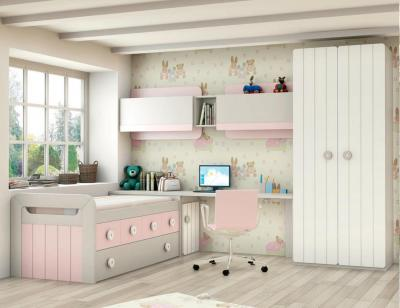 Dormitorio juvenil madera cama nido armario 134